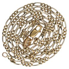 14 kt bi-colour Figaro link necklace – 44.7 cm