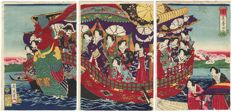 "Large original triptych woodcarving by Toyohara Chikanobu (1838 – 1912), entitled ""Meji Emperor and Empress on a Phoenix Boat"" – Japan – around 1889"