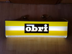 "Bar - ceiling light advertising sign for ""Obri"", printing FR.MONSAK & CO, Frankfurt A.M in 1966."