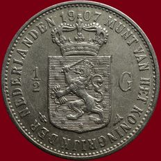 The Netherlands – ½ guilder 1907 Wilhelmina – silver.