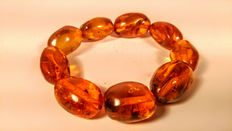 Genuine Antique  Baltic amber cognac color bracelet, 36 grams