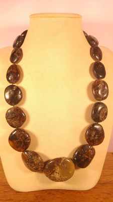 Genuine Baltic Amber black necklace, 116 grams