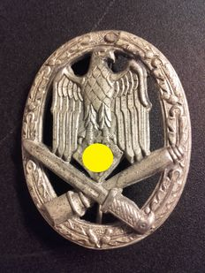 General assault badge in silver of the 3rd Reich