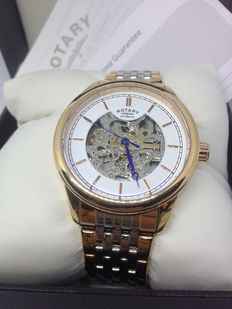 Rotary - Men's  White  Skeletonized Dial Watch