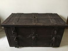 A good wrought iron strong box, German, 17th century