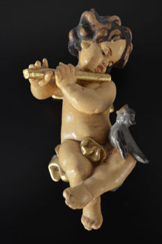 Rare Baroque angel sculpture / antique putto figure with a flute made of wood