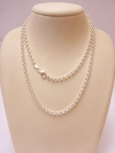 925 silver Jasseron link necklace – Length 80 cm