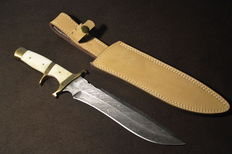 Original Damascus Knife Hunting Knife Camel Bone