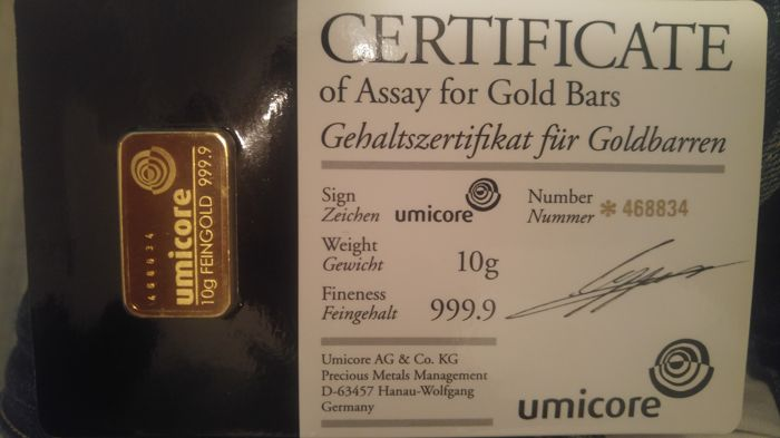 Gold bar with 10 g - Umicore, Germany - With certificate