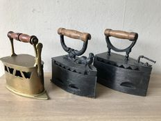 3 Antique  irons,  2 x iron-cast and 1 x copper
