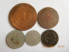 Straits Settlements – ¼ cent to 10 cents 1845/1910 – 5 coins including 2 silver.