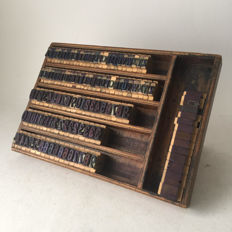 Very decorative standing wooden box filled with capital letters and numbers, mid 20th century