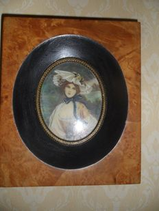 Original Portrait Miniature Painting of a pretty Lady in a wide hat Titled the Queen of the Roses