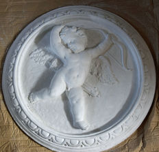 Large plaster medallion depicting Cupid - Second French Empire style - France, c. 1990