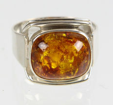 Art Deco amber ring 835 silver