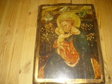 Icon of the Mother of God with child, made of wood, mid-20th century