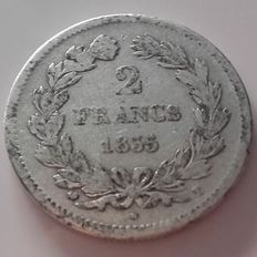 France – 2 Francs 'Louis Philippe' 1835-T Nantes – Silver