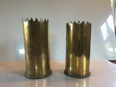 Pair of shells in brass 16 - second world war - 1944 - France