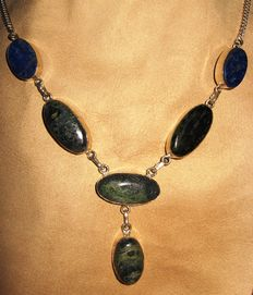 925 large silver necklace with lapis lazuli and malachite - length 52 cm