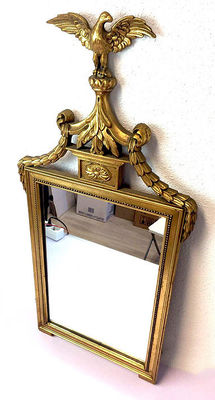 Gilded wooden mirror in Empire style - crowned with an eagle - Belgium - ca. 1920