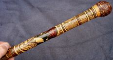 Asian cane entirely carved from the pommel to the bamboo ferule - Japan - ca. 1930
