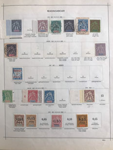 French Colony – Madagascar 1896/1927 – Extensive collection incl. air mail and postage on album sheets