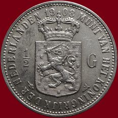 The Netherlands – ½ guilder 1908 Wilhelmina – silver