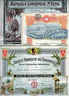 Africa - Lot of 3 Decorative African Share Certificates - 1920-1927