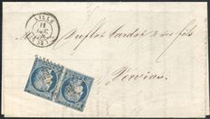 France 1852 - Ceres blue 25c in a pair on a letter - Yvert no. 4