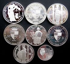 Andorra – Diner and 10 diners 1996/1999 (8 different ones) – Silver