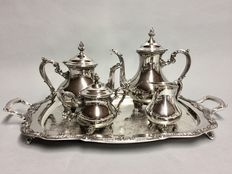 Very beautiful silver plated tea- and coffee set on a serving tray, Galleon, England, ca 1930