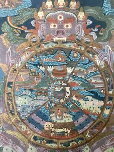 Thangka, the wheel of life – Tibet – middle of the 20th century