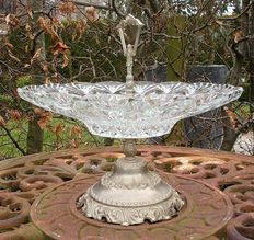 Crystal fruit bowl with tin fittings