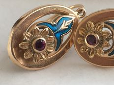 Earrings with enamel and rubies