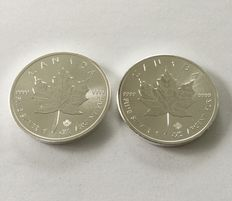 Canada: 2 silver coins - maple leaf - year 2016 and 2017