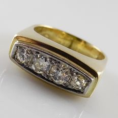 Yellow gold vintage men's ring with a row of four diamonds, 0.76 ct in total, size 18 / 56