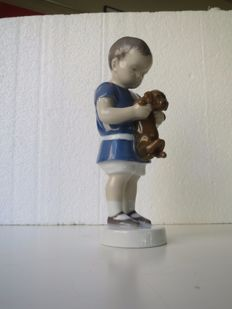 Bing Grøndahl B&G  - Ole Little Boy with Dachshund Puppy Figurine #1747