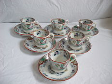 P.Regout - Timor - Six cups and saucers