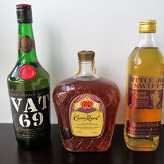 3 bottles - VAT 69, Crown Royal & Little John Swifft