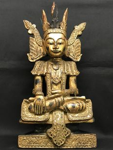 Budha, alter statue - wood decorated with gold leaf and mirrored pieces - Burma - mid 20th century
