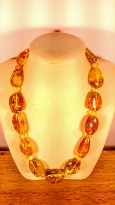 Genuine Honey colour Baltic Amber necklace, 123 grams