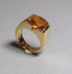 Ring in 18 kt yellow gold with citrine – ring size: 51