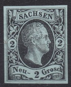 Germany, Old States - 2 blue Groschen, Saxony, 1851, Michel no. 5