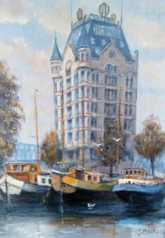 J. Maat (20th century) - Old harbour with the Witte Huis (White House) Rotterdam