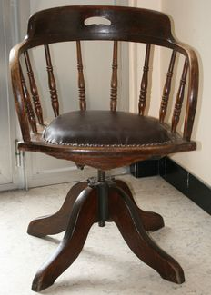 Antique oak swivel desk chair, Signed - England - end 19th century