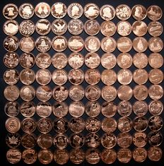 United States – Collection of copper rounds (100 different designs) 100 oz of 999 copper in total