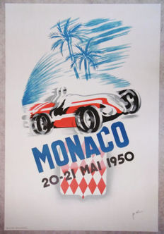 Screen print B.Minne -  Grand Prix Automobile of Monaco - 68 x100 cm - 1950