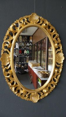Large Venetian mirror with openwork ornament - hand-gilded - gold-coloured