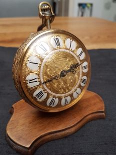 Rare Ernest Borel Versailles gold filled pocket watch on a removable stand - ca 1950 Switzerland