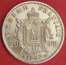 France – 20 Francs 'Napoléon III' 1862-A Paris – Gold
